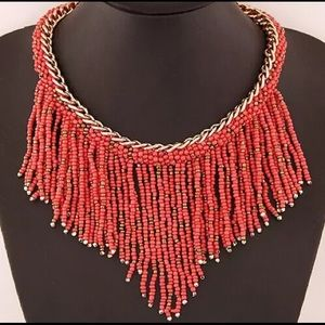 🆕 Red Beaded Bohemian Statement Necklace